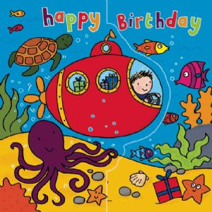 Submarine Birthday Card, Sparkly Card,  Pop Out Card TW194